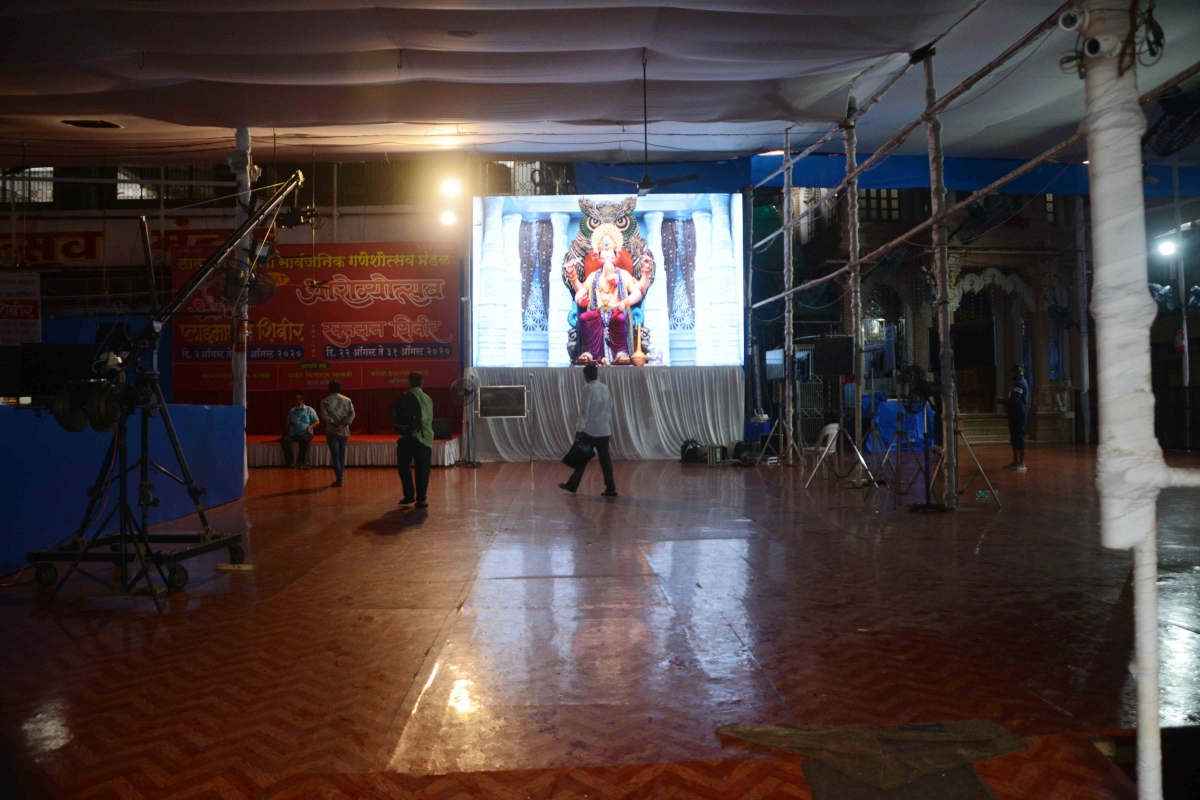 The Lalbaughcha Raja Ganpati pandal wears a deserted look this year due to the pandemic.