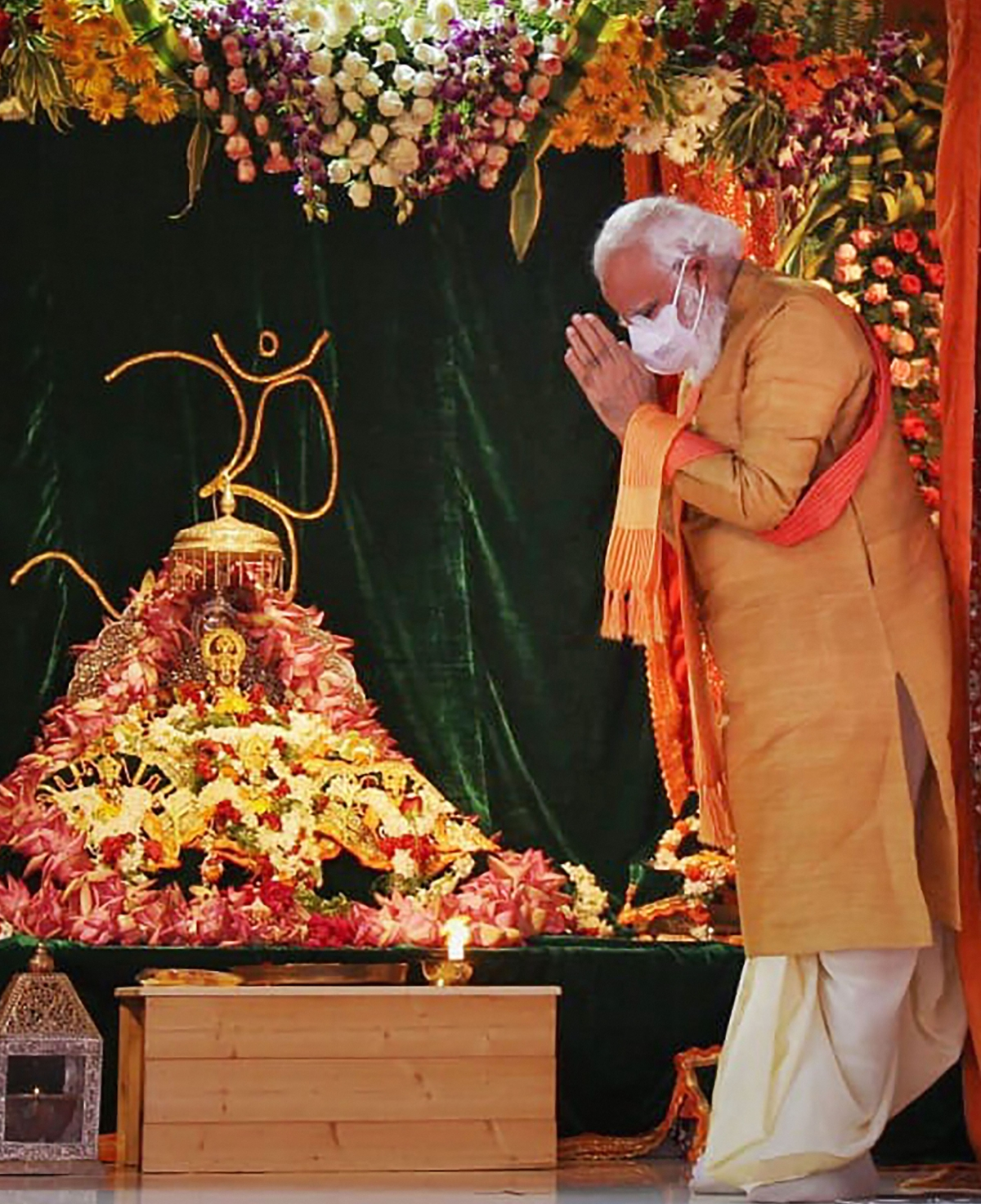 Prime Minister Narendra Modi offers prayers to Ram Lalla at Ram Janmabhoomi site in Ayodhya on Wednesday.