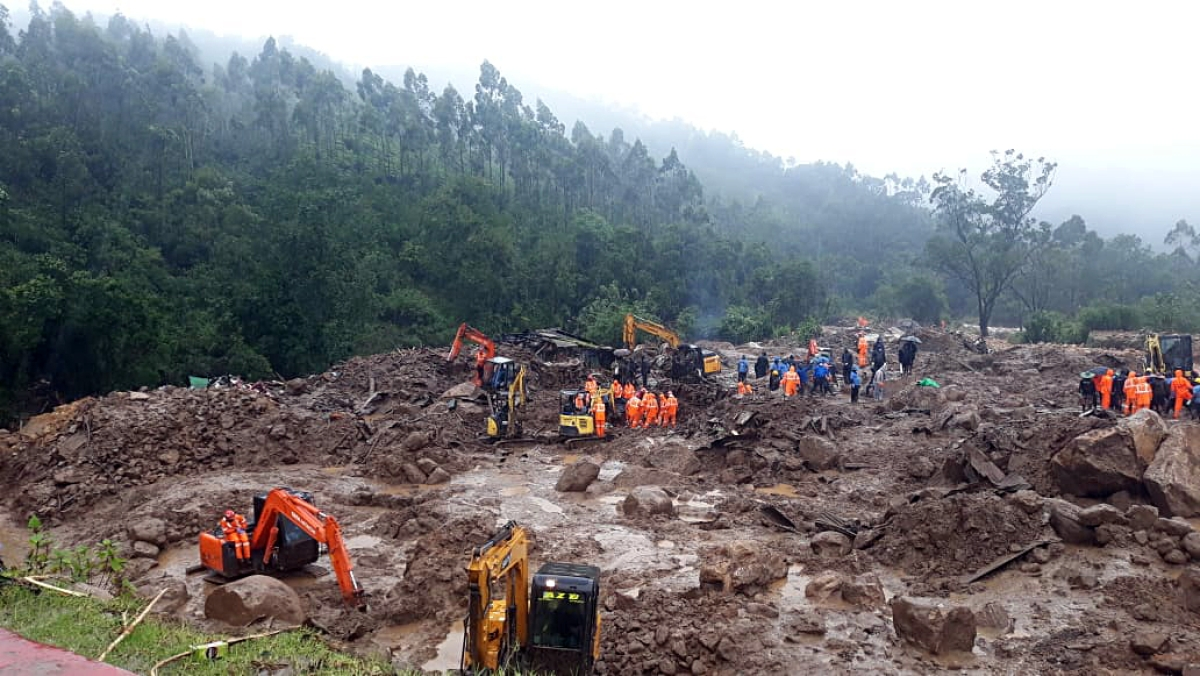 National Disaster Response Force (NDRF) personnel during the rescue operations at the landslide site, at Rajamala in Idukki on Sunday
