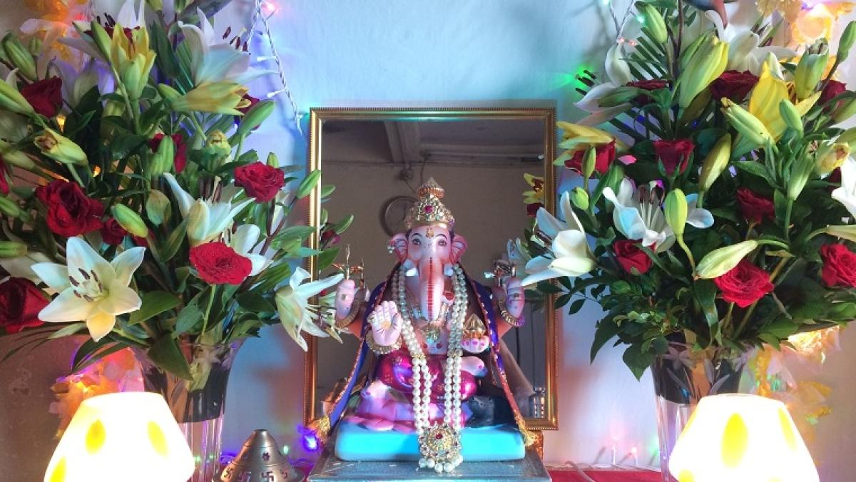 Last year's shaducha (clay) Ganpati idol