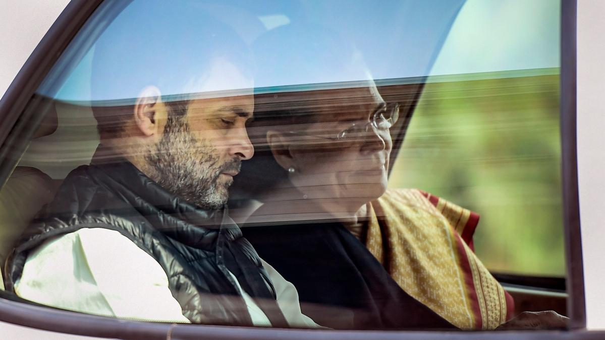 Congress President Sonia Gandhi (Right) along with Rahul Gandhi