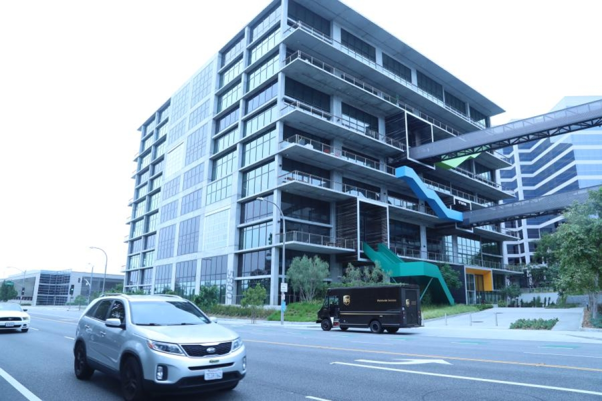 Photo taken on Aug. 21, 2020 shows the video-sharing social networking company TikTok's Los Angeles Office in Culver City, Los Angeles County, the United States.