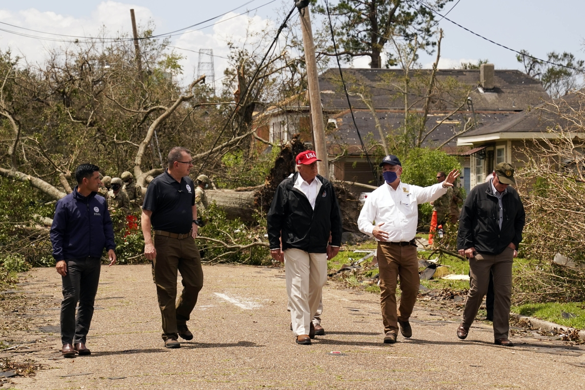 President Donald Trump tours hurricane-hit Louisiana