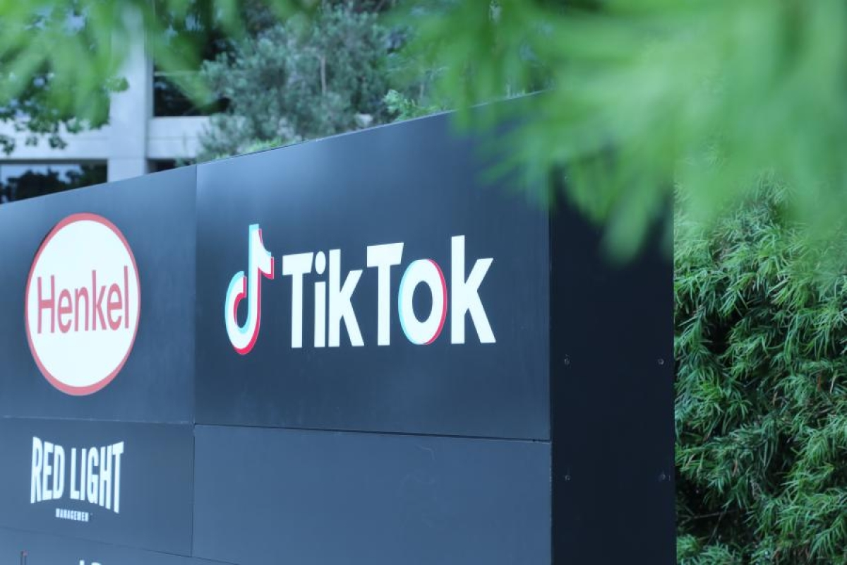 Photo taken on Aug. 21, 2020 shows a logo of the video-sharing social networking company TikTok's Los Angeles Office in Culver City, Los Angeles County, the United States