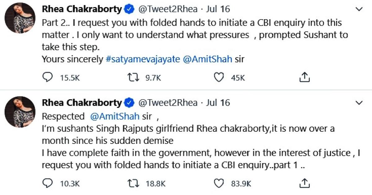 Form begging Amit Shah for CBI probe to saying none needed: Rhea Chakraborty's epic U-turn