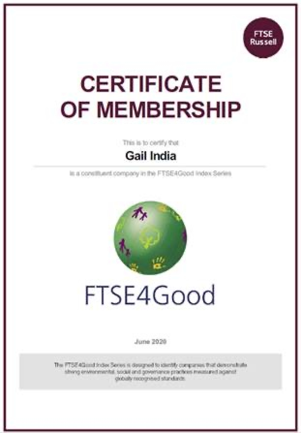 """GAIL included in Global Sustainability Index """"FTSE4GOOD Index Series"""""""