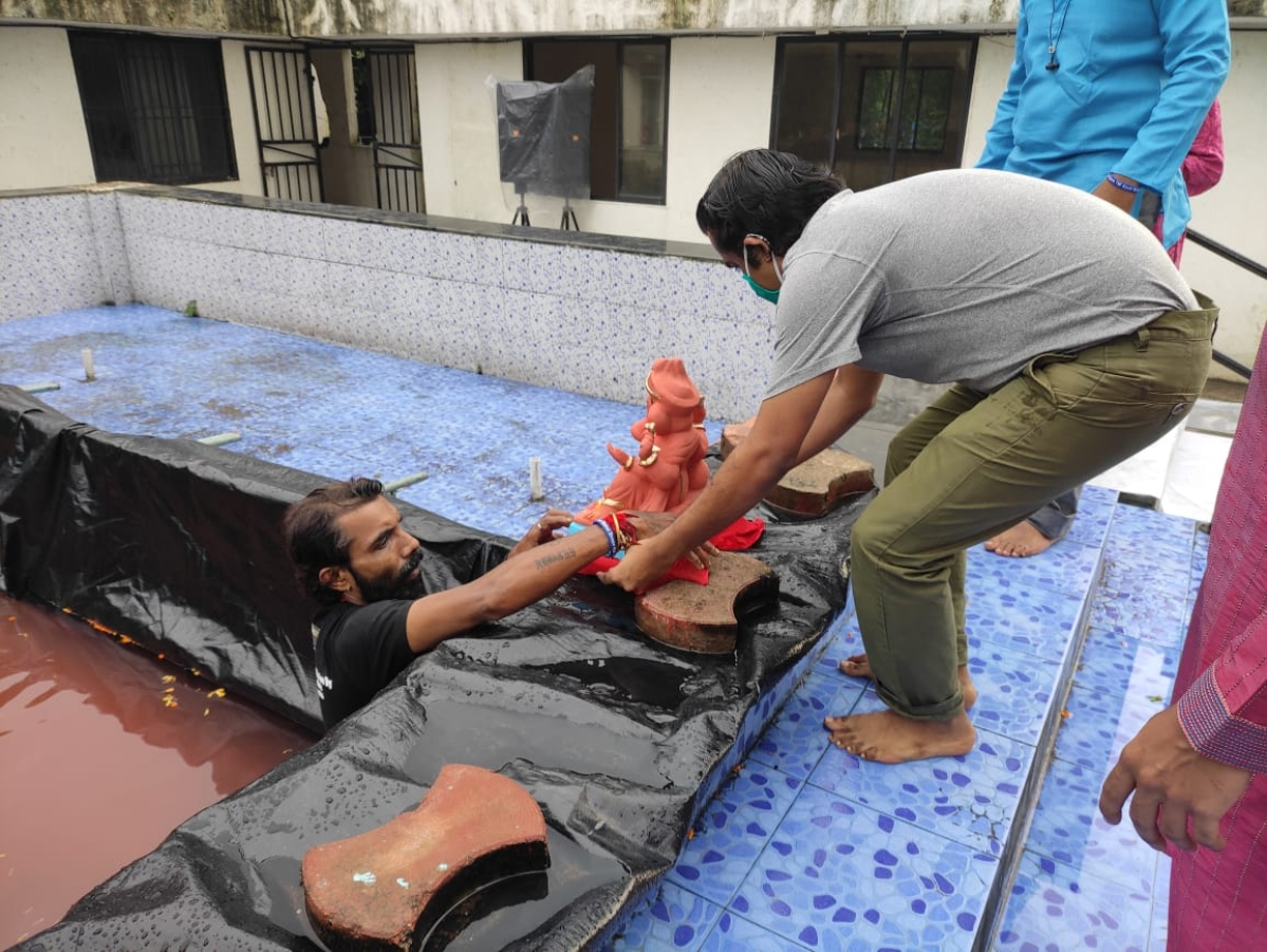 Ganeshotsav 2020: Green activist converts society's swimming pool into artificial pond for Ganesh immersions