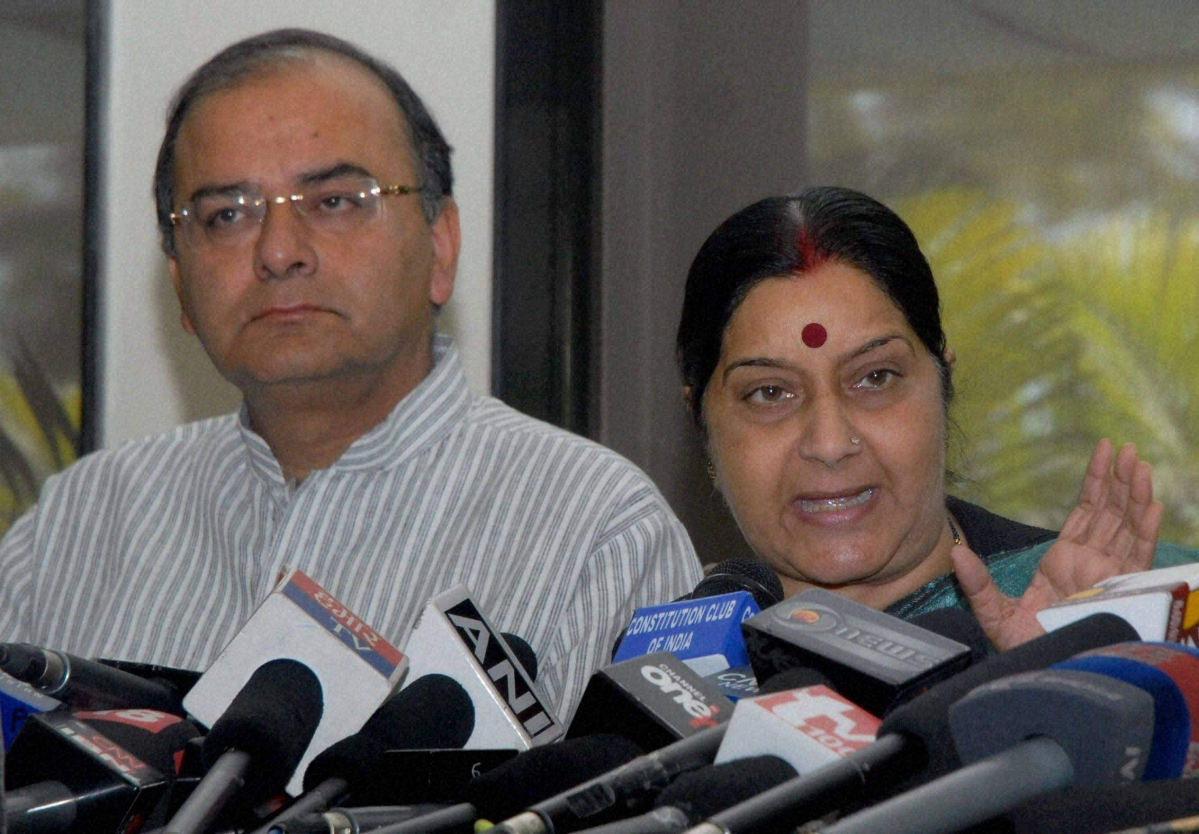 Senior BJP leader Sushma Swaraj with party leader Arun Jaitley addressing a press conference in New Delhi in 2010. Swaraj, also former Union Minister and party stalwart passed away earlier this month.