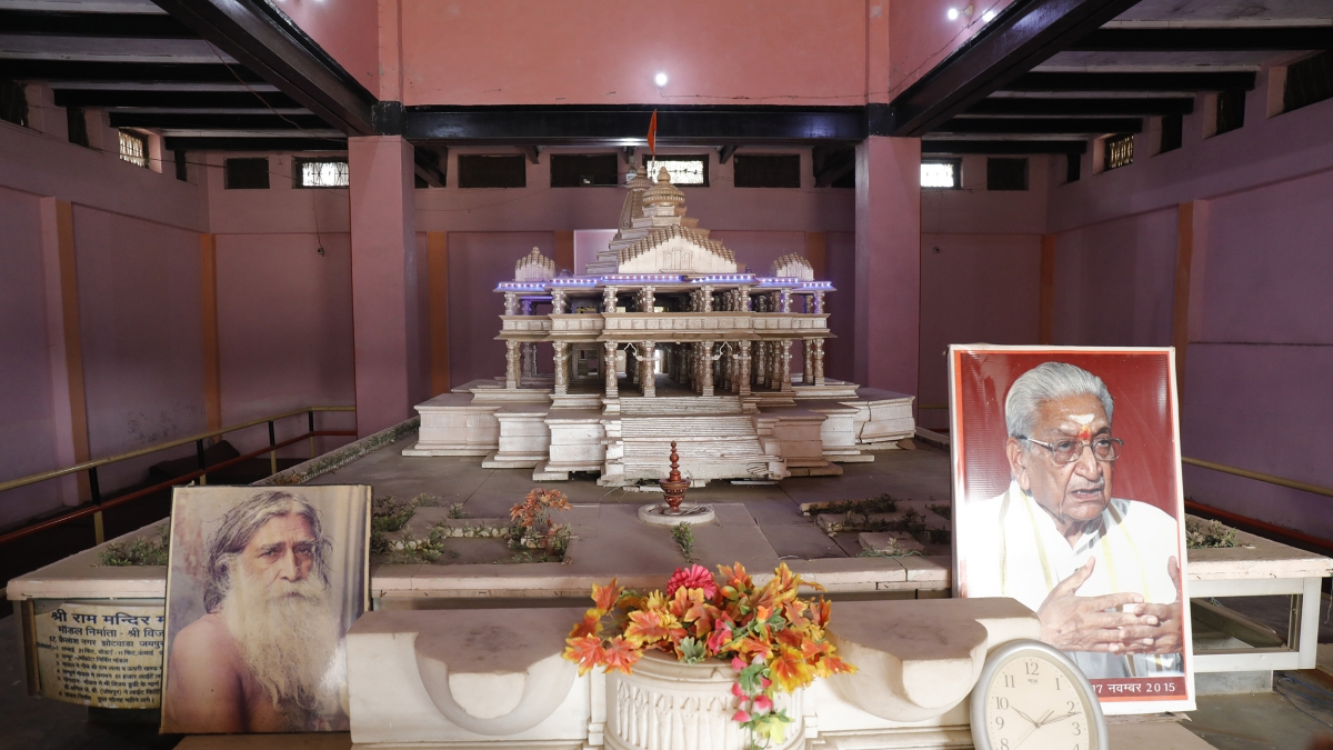 A view of the proposed old model of the Ram Temple kept at Karsewakpuram in Ayodhya