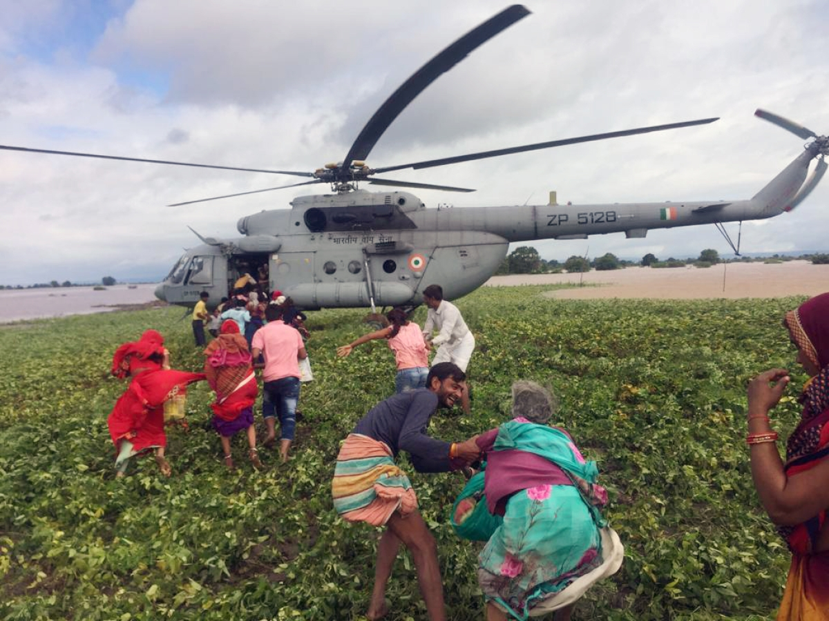 Indian Air Force airlifts flood-affected people in Sehore on Sunday.