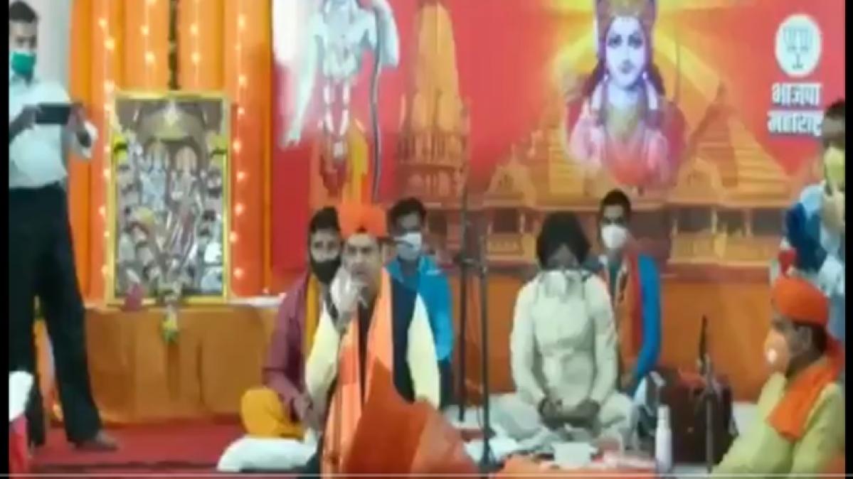Ram Temple 'bhoomi pujan': Devendra Fadnavis sings devotional songs at BJP Mumbai office