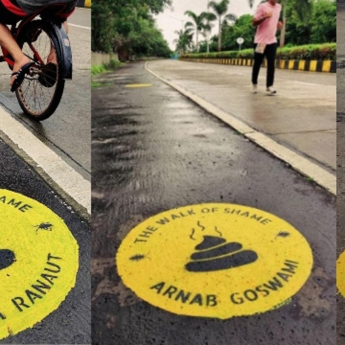 Kangana Ranaut, Arnab Goswami and Sudhir Chaudhary feature on Mumbai street artist's 'Walk of Shame'