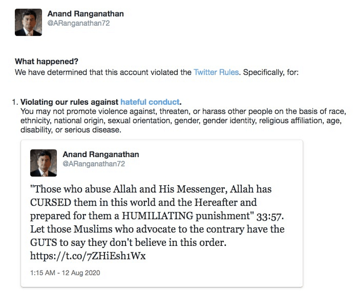 Bengaluru Riots: After 10 days, Twitter apologises to JNU Professor Anand Ranganathan for blocking his account for quoting Quran verse