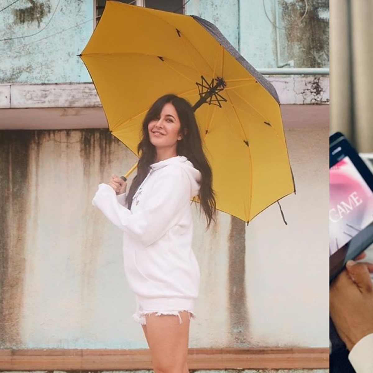 Did Katrina Kaif wear rumoured beau Vicky Kaushal's white hoodie to pose in the rain?