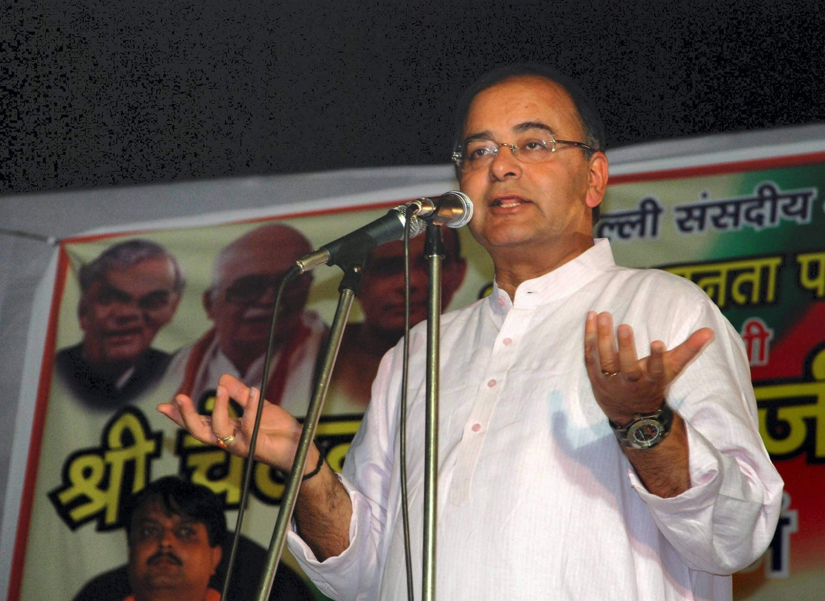 Then BJP general secretary Arun Jaitley addresses party supporters during an election campaign for East Delhi candidate in Delhi.