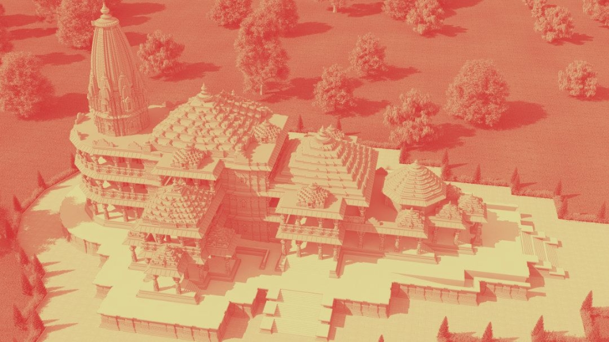 Artistic representation of the proposed model of the Ayodhya Ram Temple
