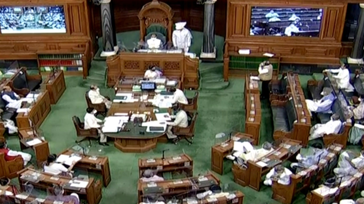 A general view of Lok Sabha as Defence Minister Rajnath Singh makes a statement on India-China border issue, during the Monsoon Session of the Parliament in New Delhi on Tuesday