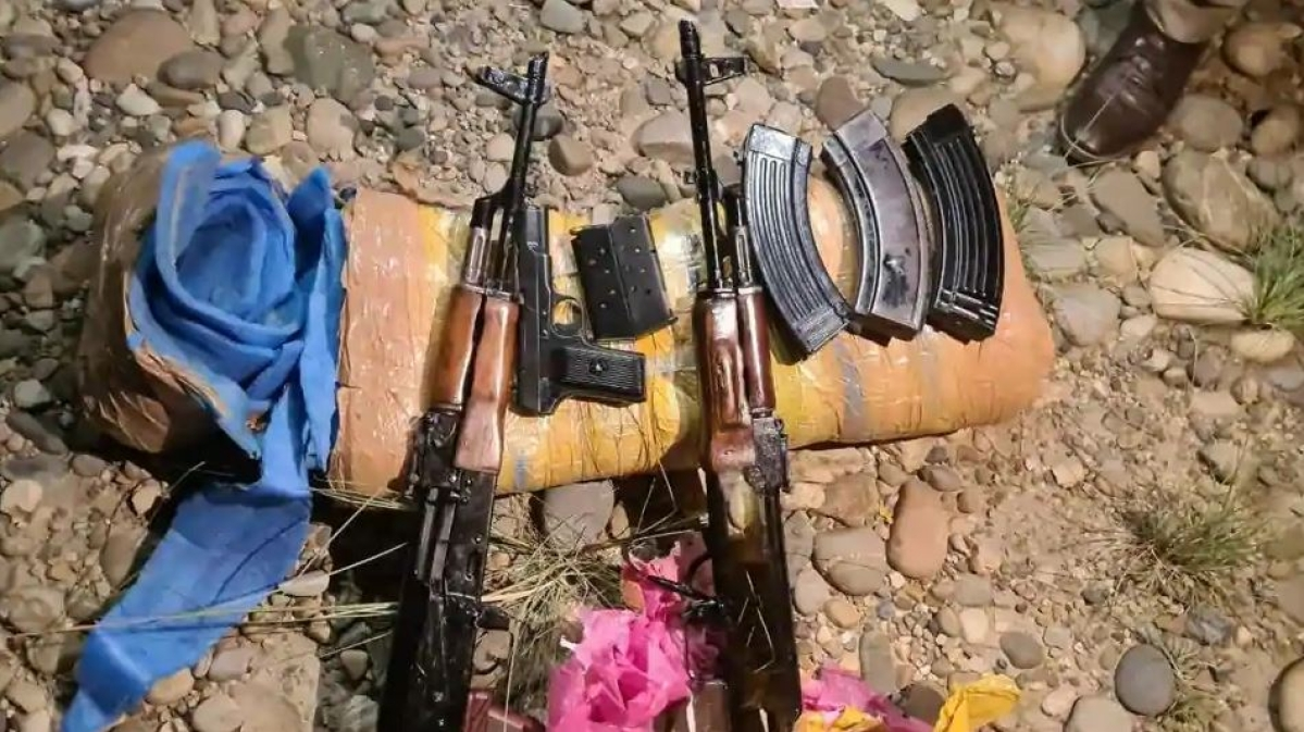 Arms consignment dropped by Pakistan-based terrorists using drones near Jammu border, seized