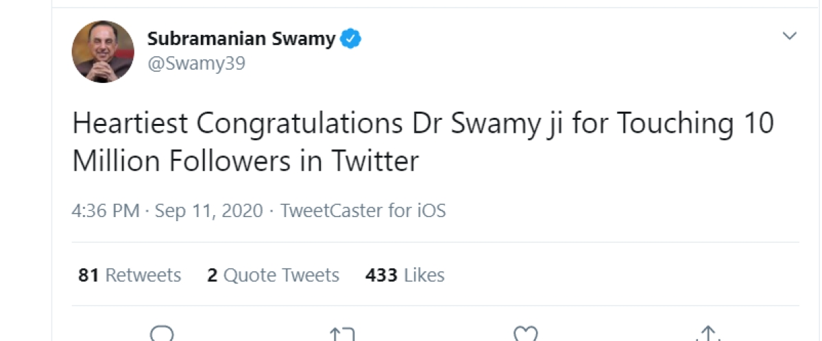 'Swamyji congratulations for reaching 10 million followers': Subramanian Swamy tweets to himself