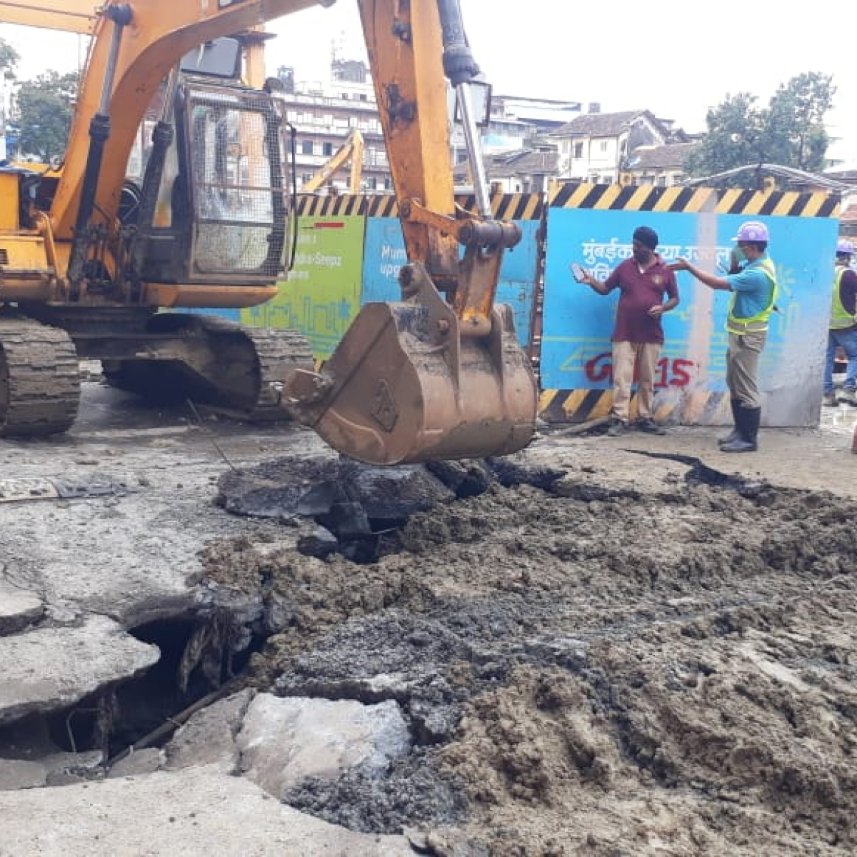 Watch: Pics and videos after road caved in Girgaon near Mumbai Metro 3 project work site
