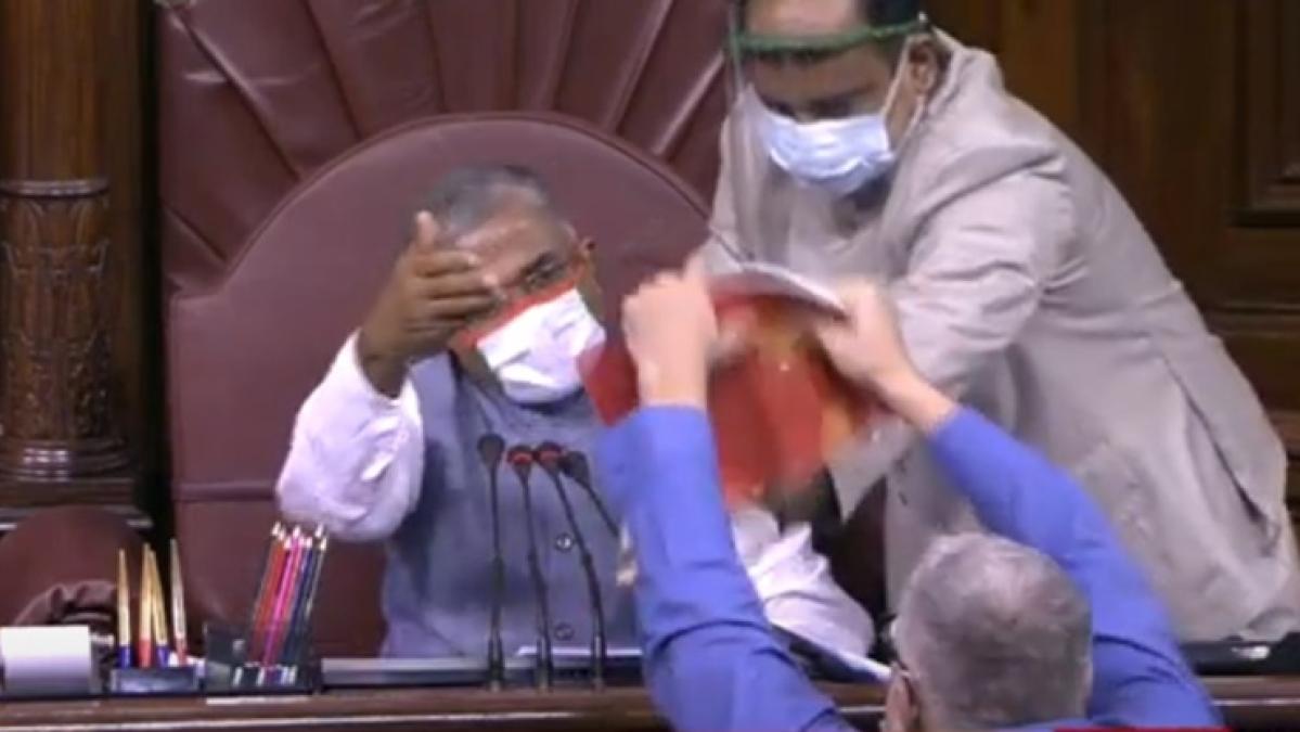 'They cheated': TMC MP Derek O'Brien tears rule book in Rajya Sabha, shares two videos