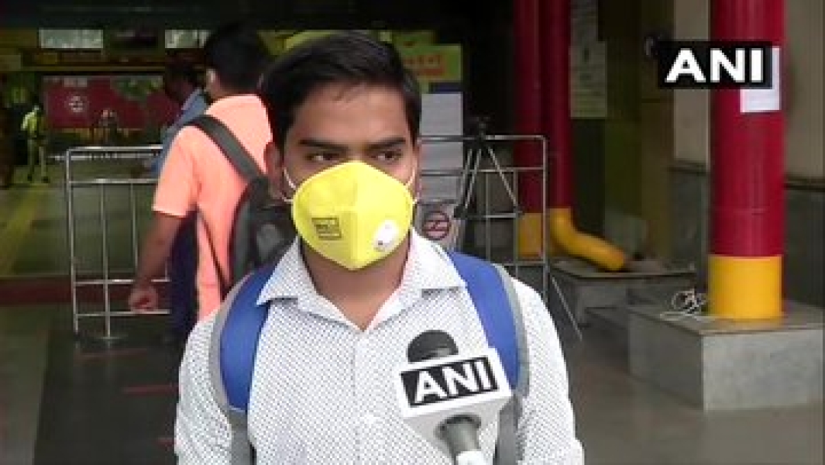 "Haryana: Delhi Metro Rail Corporation resumed services from 7 am today on Yellow and Rapid Metro lines; visuals from Huda City Centre metro station in Gurugram. A commuter says, ""I feel good that metro services are going to start again."""