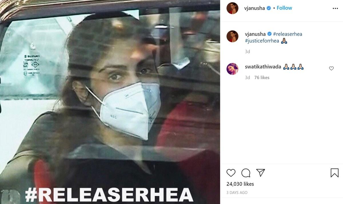 Anusha and Shibani Dandekar DID NOT delete their 'Release Rhea' posts