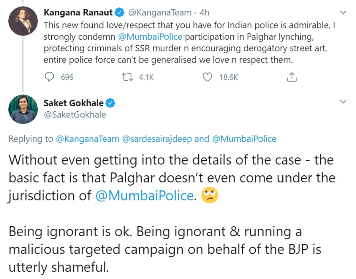 Saket Gokhale schools Kangana Ranaut for 'wrongly condemning' Mumbai Police in Palghar lynching