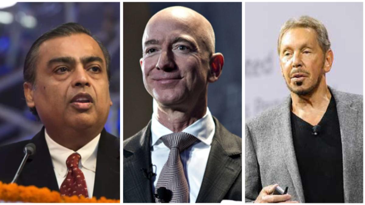 (L to R) Mukesh Ambani, Jeff Bezos and Larry Ellison