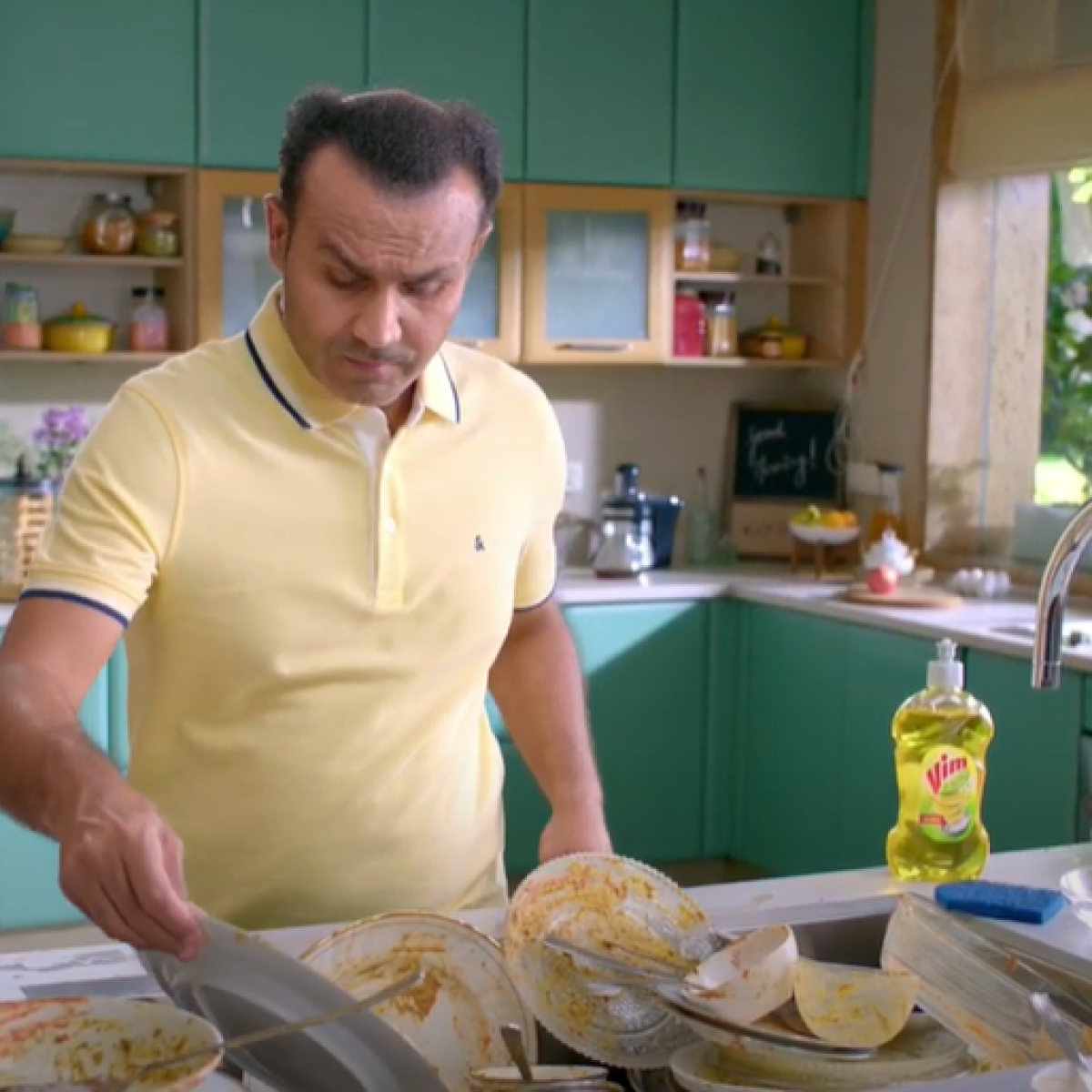 Watch: Virender Sehwag bats off germs in this liquid hand wash advertisement