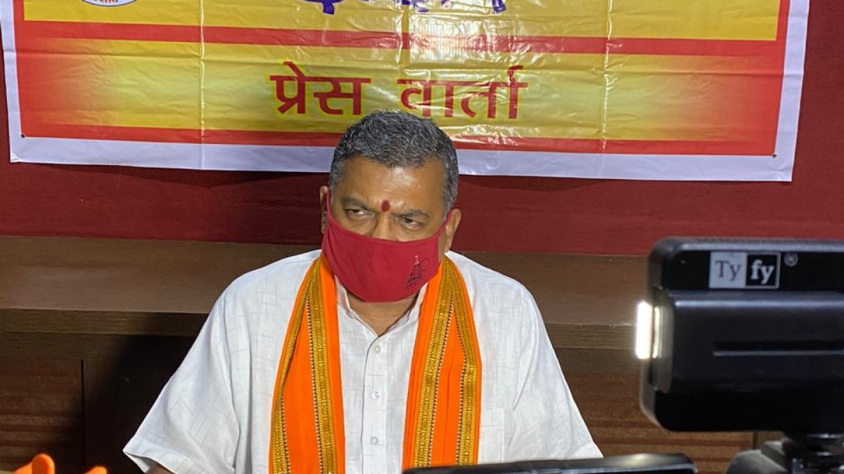 Milind Parande, Central Secretary of VHP interacts with media in Indore on Wednesday.