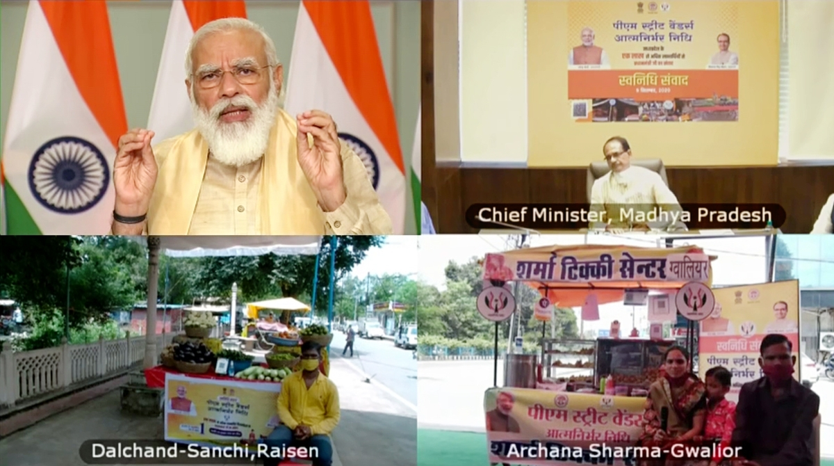 Prime Minister Narendra Modi addresses as he holds Svanidhi Samvaad with street vendors from Madhya Pradesh through video conferencing, in New Delhi on Wednesday. Chief Minister Shivraj Singh Chauhan was also present.