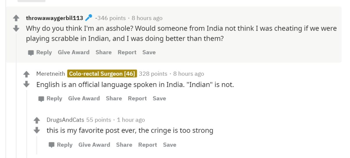 What the farrago: This racist Reddit user actually thought an Indian girl was cheating at scrabble because she wrote 'ostensibly'