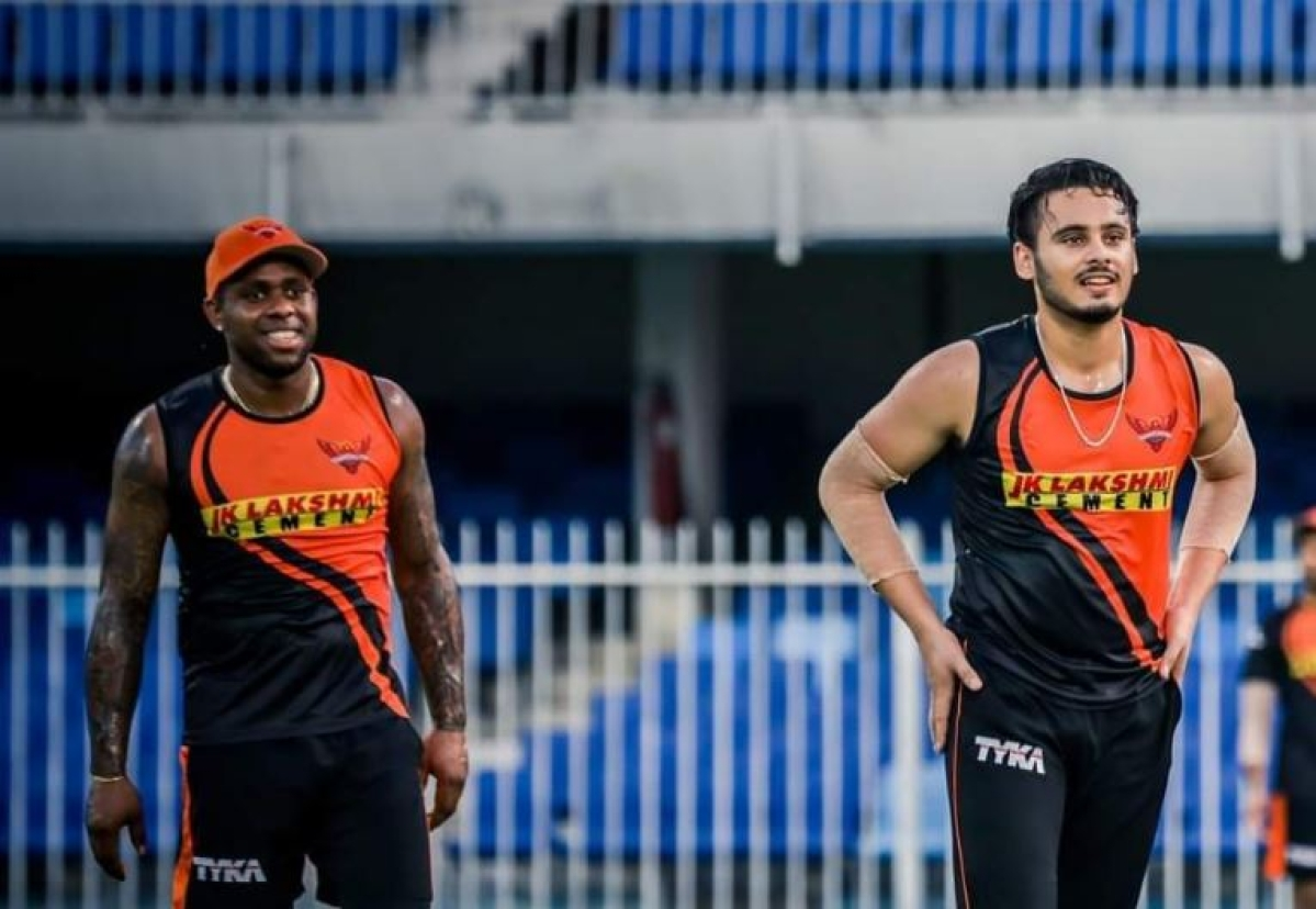 Sunrisers Players at the nets on Tuesday