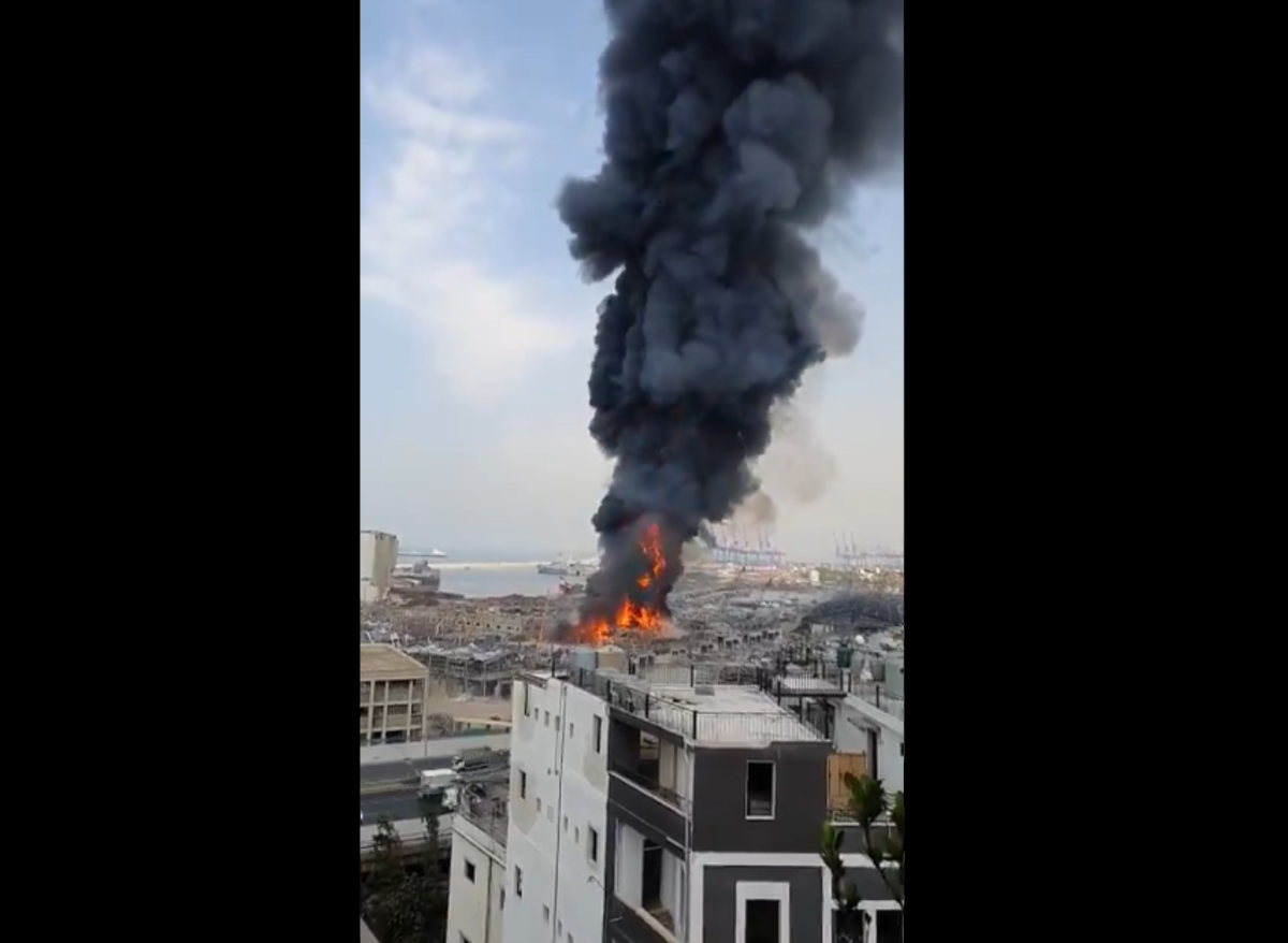Lebanon: Massive fire breaks out at Beirut port a month after huge explosion killed 200 people