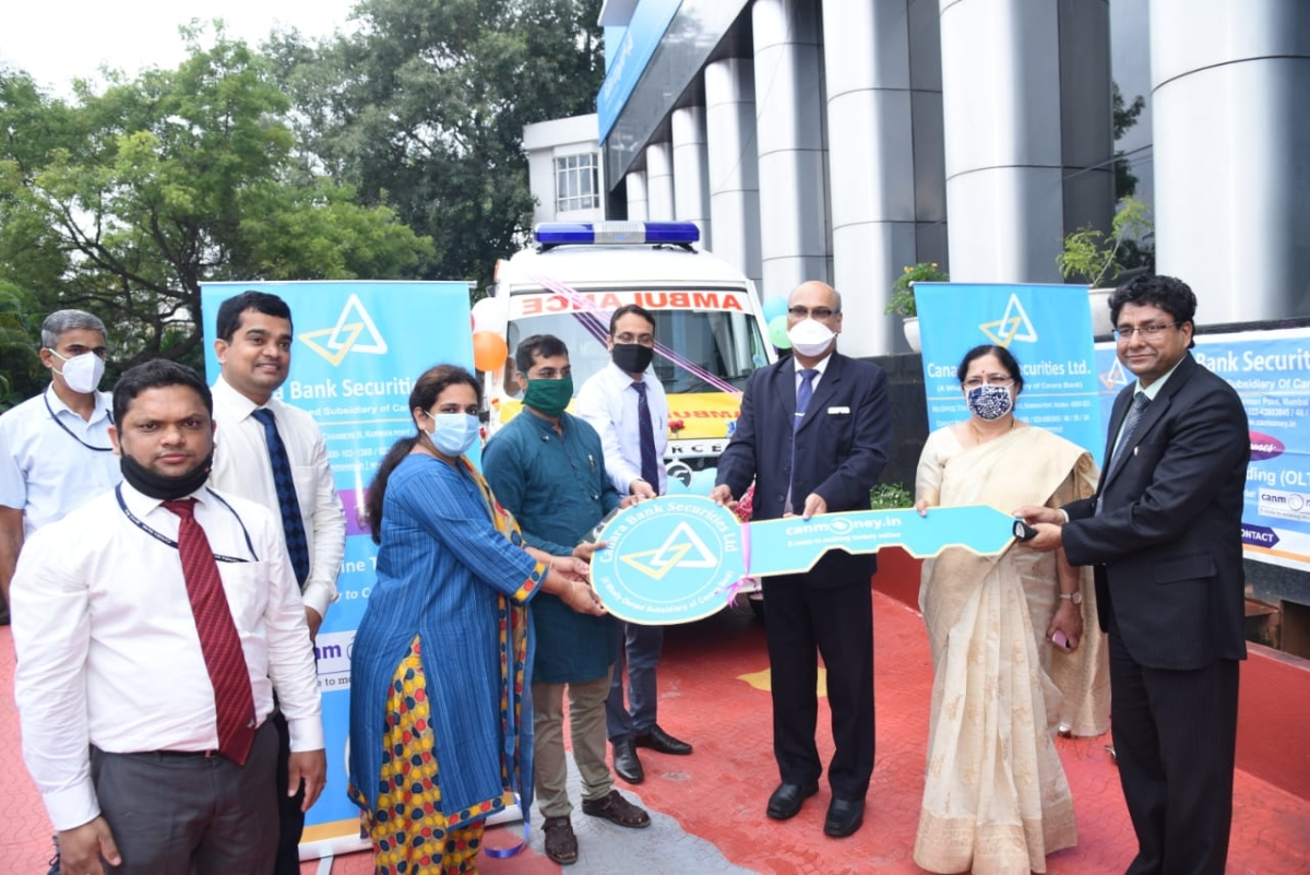Canara Bank Securities donates ambulance to Vivekananda Memorial Hospital, Mysore