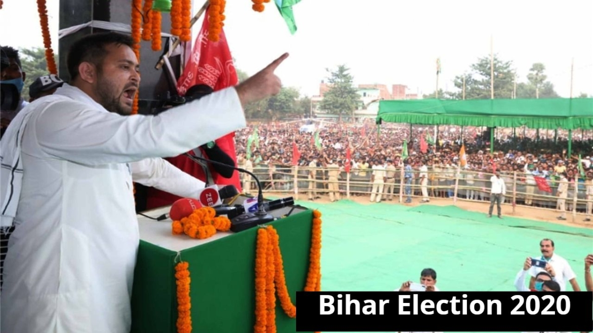 RJD leader Tejashwi Yadav holds an election rally ahead of Bihar Assembly elections, at Masudhi consistency in Patna on Oct 21, 2020.