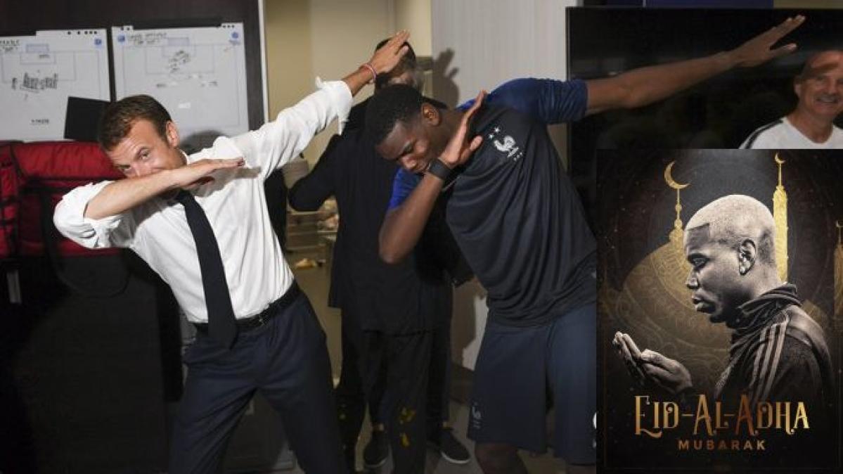 Pogba dabbing with Macron in 2018
