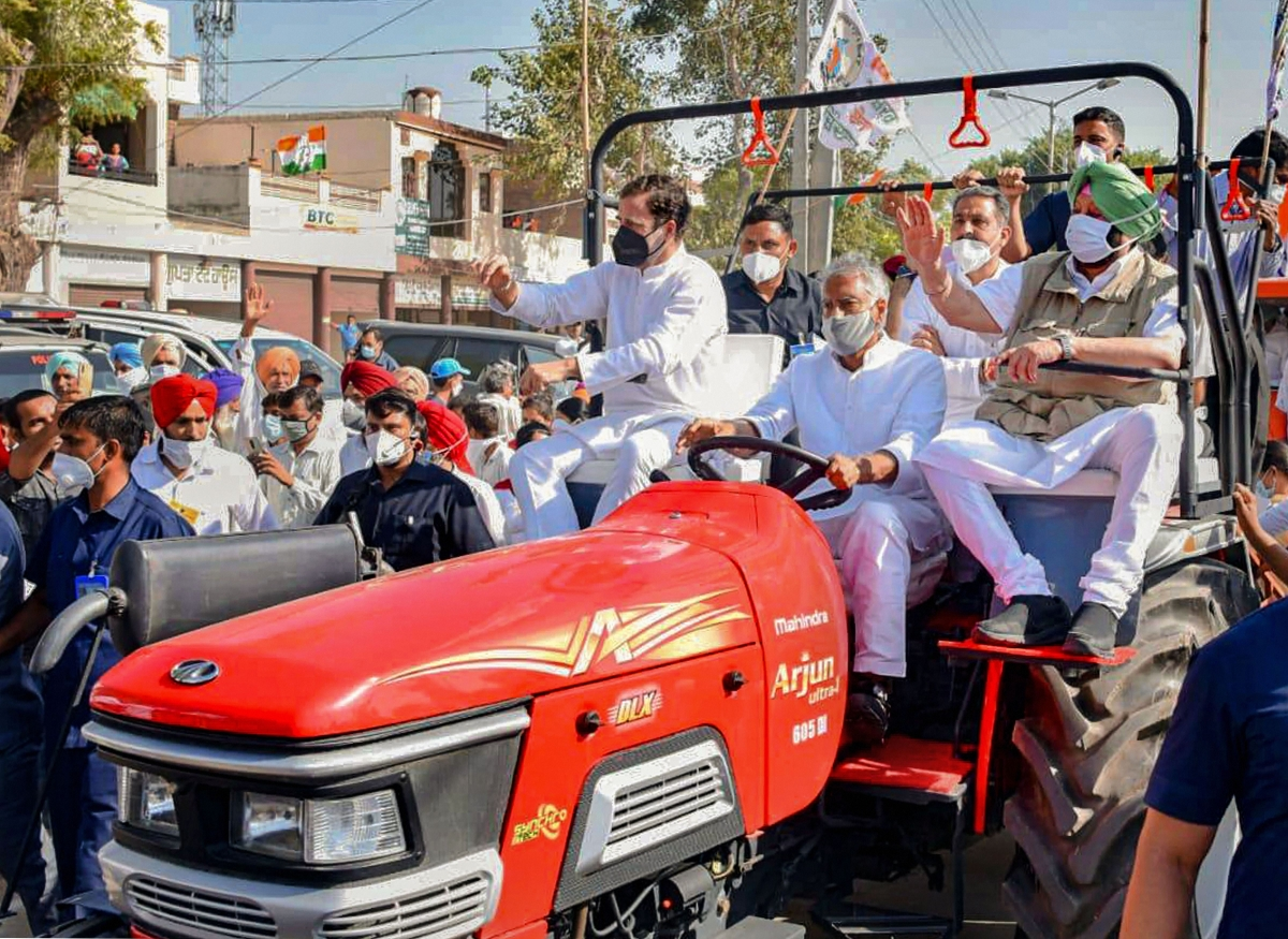 Madhya Pradesh: Congress leaders take out tractor rally in Sehore against new farm laws