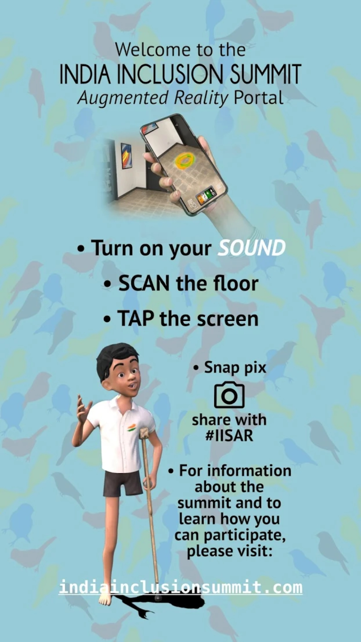 How you can take a picture with Inclu - the mascot of India Inclusion
