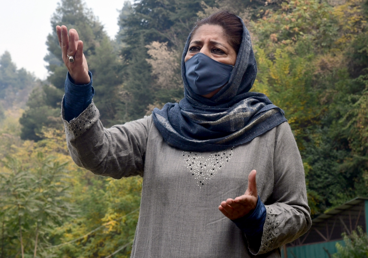 PDP President Mehooba Mufti addresses media during a press conference, at her residence in Srinagar on Thursday.