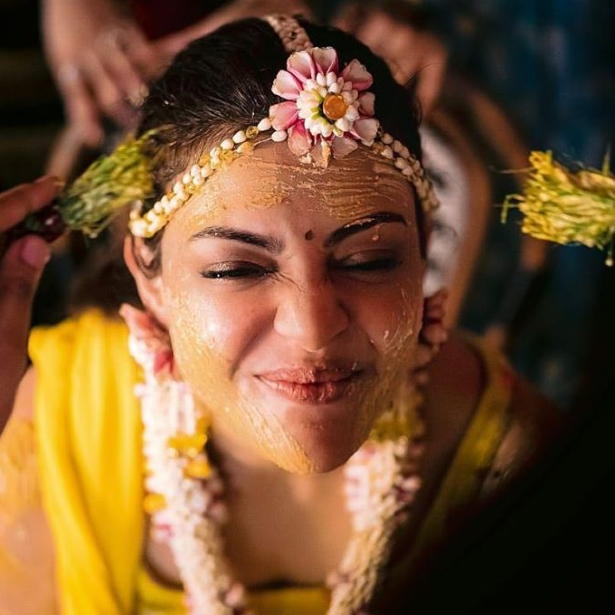 Kajal Aggarwal shares some quirky stills from her Haldi Ceremony