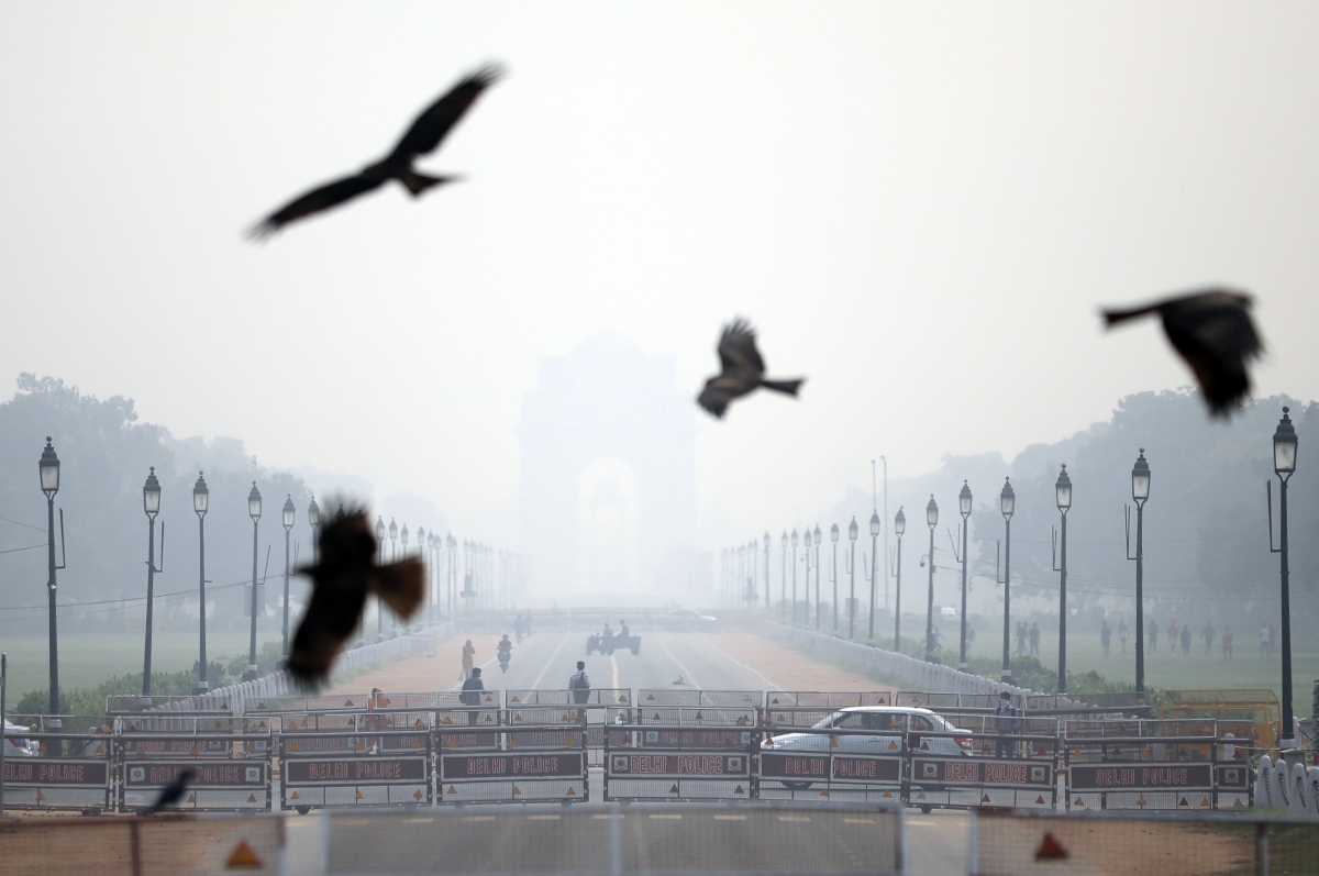 New Delhi: A view of birds flying while India Gate unseen due to smog as the air quality deteriorates in the national capital with rising of pollutants in the atmosphere, in New Delhi on Wednesday.