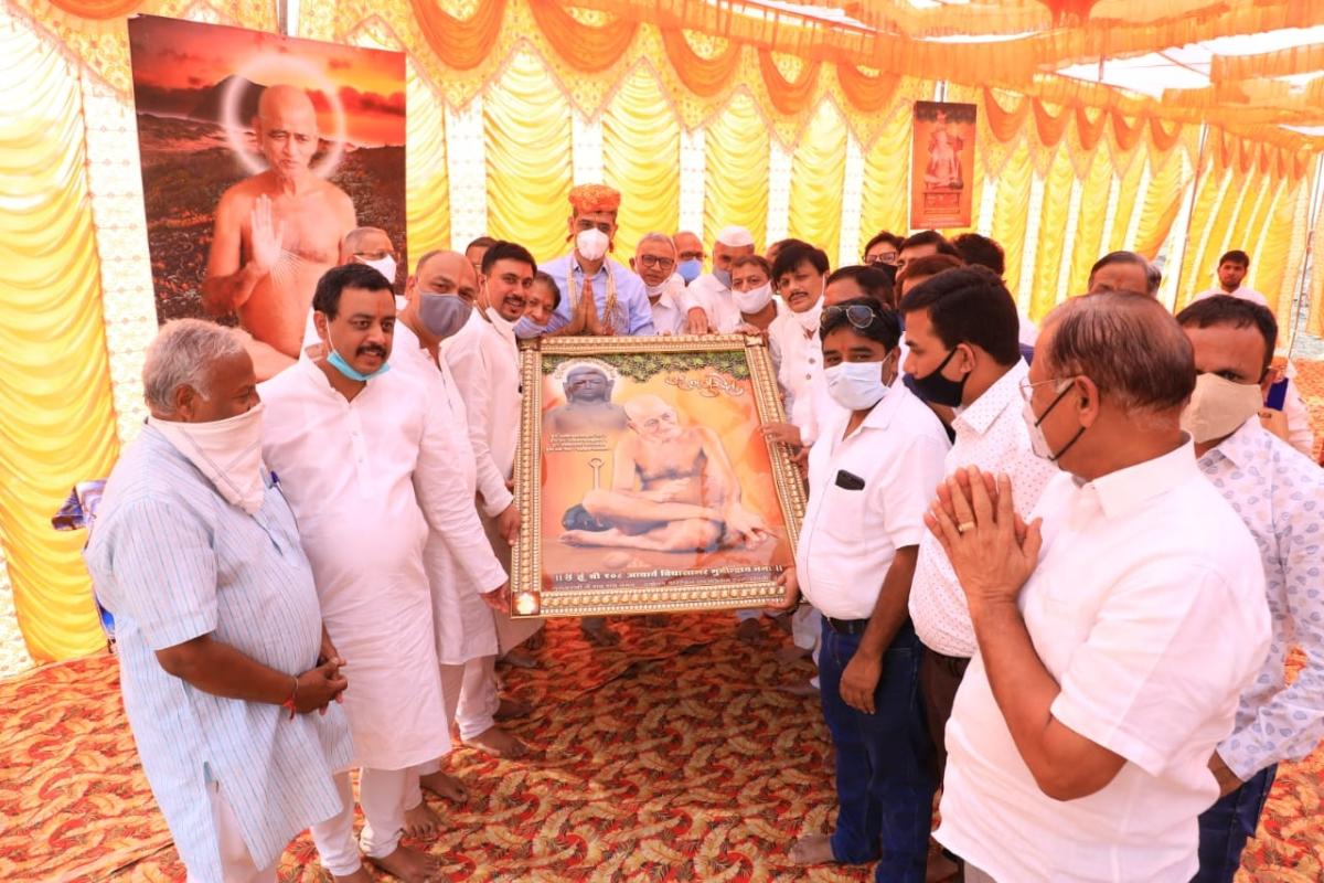 Jain community members celebrating Archarya Vidyasagar Maharaj's 75th birthday at Reoti range on Saturday.