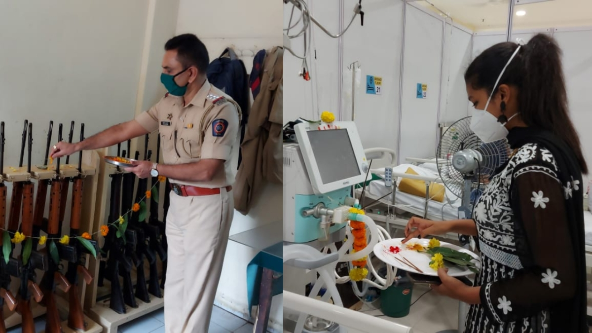 Mira Bhayandar: Cops, Covid-warriors worship the 'other shastra', perform puja on guns, medical equipment