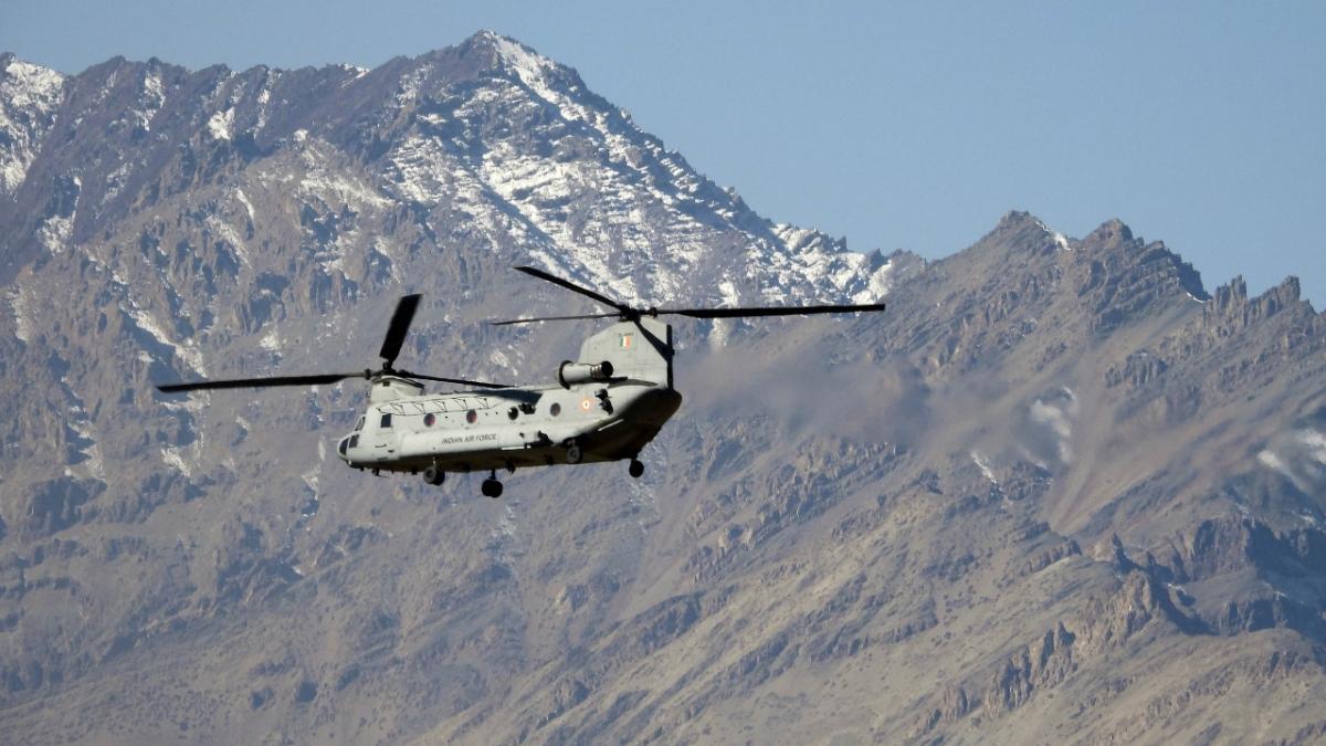 An IAF Chinook seen flying in Leh.