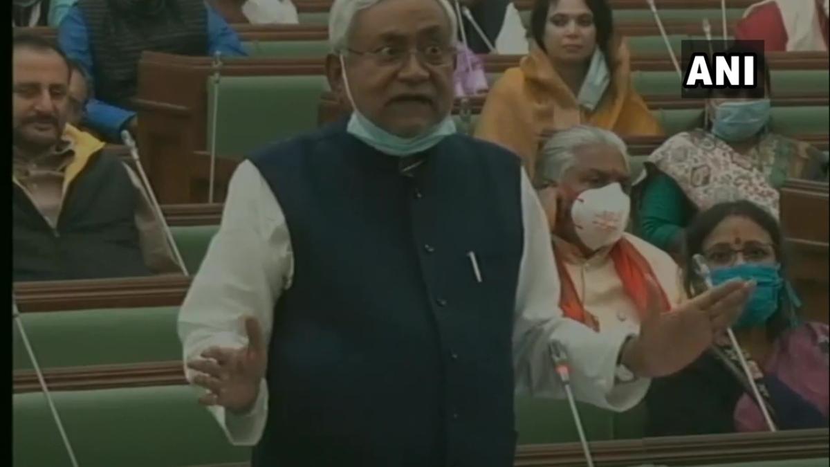 Bihar Chief Minister Nitish Kumar in Bihar Assembly today