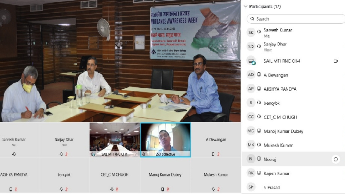 Steel Authority of India Ranchi units observe Vigilance Awareness Week – 2020