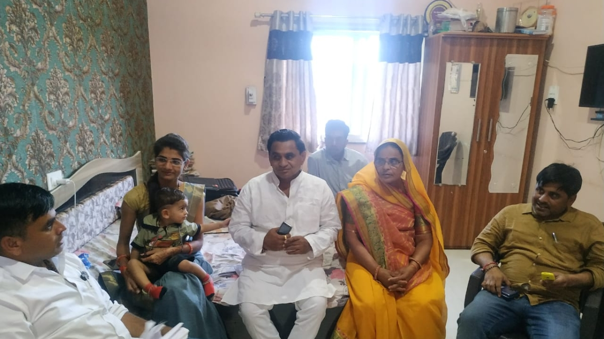 BJP candidate and former MLA Narayan Patel with his family.