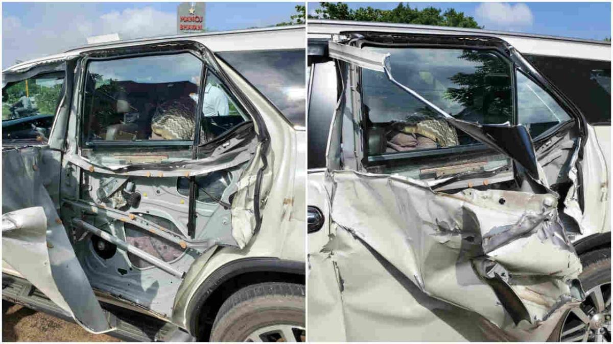 BJP leader Khushbu Sundar's car met with an accident in Tamil Nadu on Wednesday